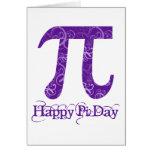 Happy Pi Day Purple Swirls Greeting Card