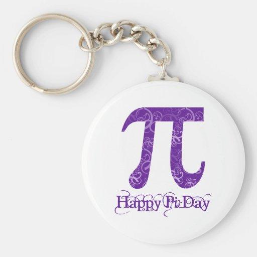 Happy Pi Day Purple Swirls Keychains