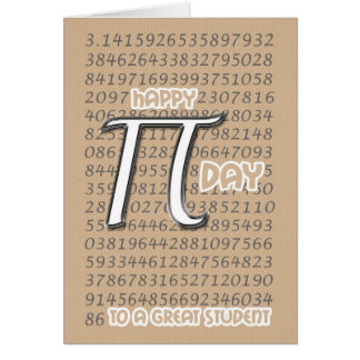 Happy Pi Day Student 3.14 March 14th Card