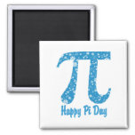 Happy Pi Day Turquoise Flowers Magnet
