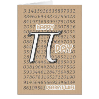 Happy Pi Day Wife 3.14 March 14th Card