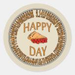 Happy PI Day with Slice of Pi Round Stickers