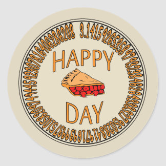 Happy PI Day with Slice of Pi Round Stickers
