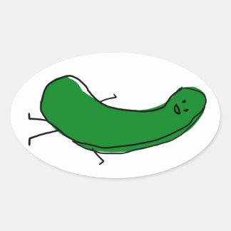Happy Pickle Oval Sticker