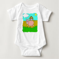 happy pig baby bodysuit