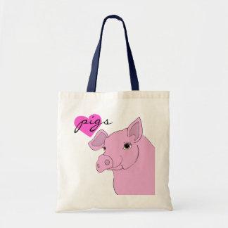 happy pig canvas bags