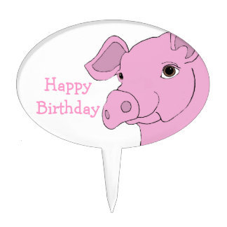 happy pig cake topper
