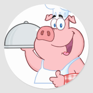 Happy Pig Chef Holding A Platter Sign Classic Round Sticker
