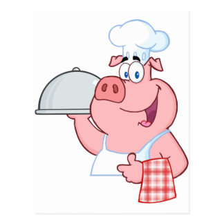 Happy Pig Chef Holding A Platter Sign Postcard