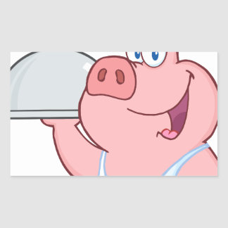 Happy Pig Chef Holding A Platter Sign Rectangular Sticker