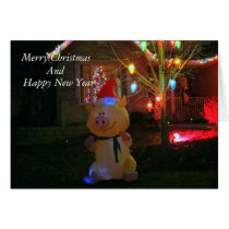 """""""Happy Pig""""  Christmas Decorations Card"""