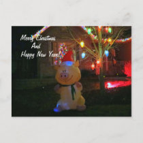 """""""Happy Pig""""  Christmas Decorations Holiday Postcard"""