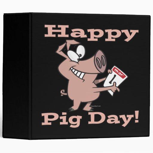 happy pig day 3 ring binder