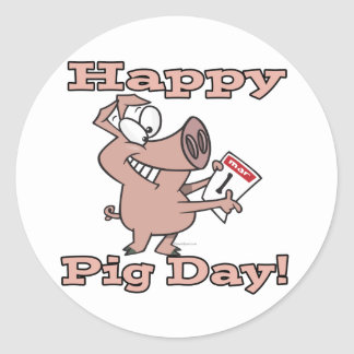 happy pig day classic round sticker