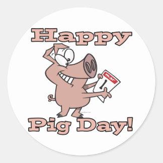 happy pig day classic round sticker