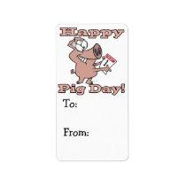 happy pig day label