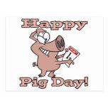happy pig day postcard
