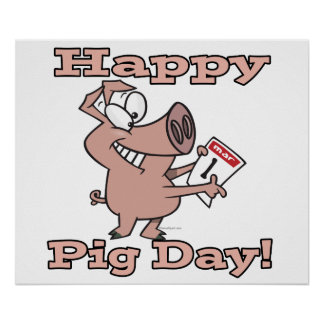 happy pig day poster