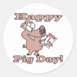 happy pig day round sticker