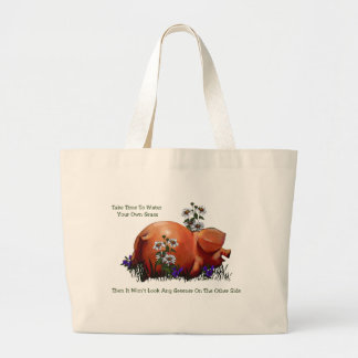 Happy Pig: Grass Not Greener On Other Side: Art Canvas Bag