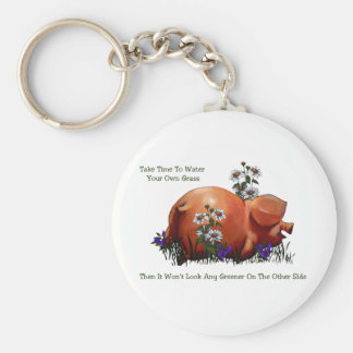 Happy Pig: Grass Not Greener On Other Side: Art Keychain