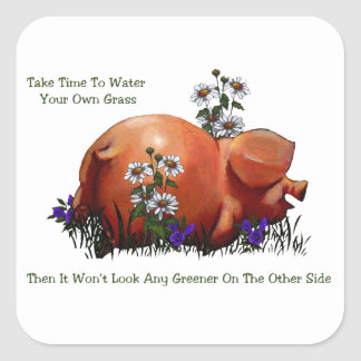 Happy Pig: Grass Not Greener On Other Side: Art Square Sticker