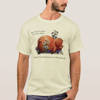 Happy Pig: Grass Not Greener On Other Side: Art T-Shirt