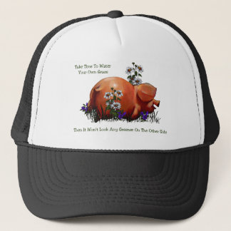 Happy Pig: Grass Not Greener On Other Side: Art Trucker Hat