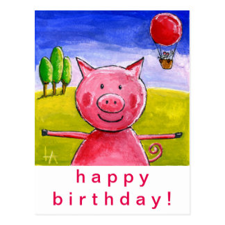 Happy Pig Happy Birthday Postcard