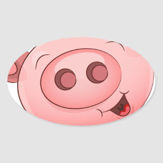 Happy Pig Icon Oval Sticker