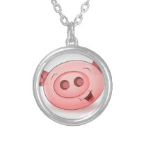 Happy Pig Icon Silver Plated Necklace