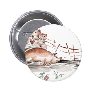 Happy Pig in Mud Casting Roses before Swine Button