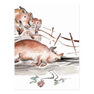 Happy Pig in Mud Casting Roses before Swine Postcard