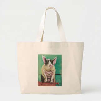 happy pig in pastel animal painting tote bags