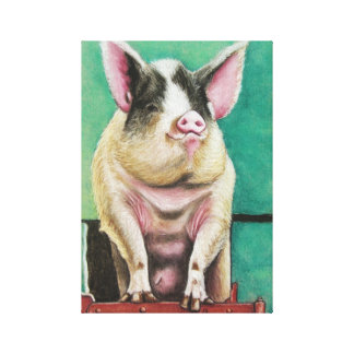 happy pig in pastel animal painting canvas print