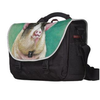 happy pig in pastel animal painting computer bag