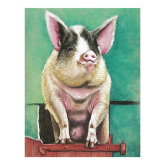 happy pig in pastel animal painting letterhead