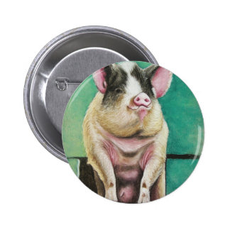 happy pig in pastel animal painting pinback button
