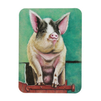 happy pig in pastel animal painting rectangular magnets