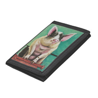 happy pig in pastel animal painting wallets