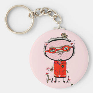 Happy Pig Keychain by Krize Llavero Redondo Tipo Pin