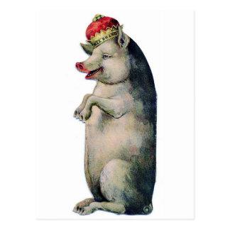Happy pig king postcard