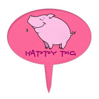 Happy Pig Oval Cake Pick