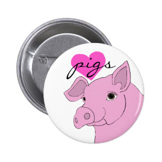 happy pig pinback button