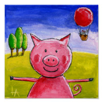 Happy Pig Poster