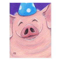 Happy Pig Wearing A Party Hat Illustration Postcard