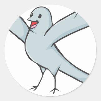 Happy Pigeon Bird Cartoon Classic Round Sticker