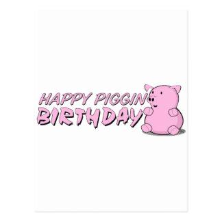Happy Piggin Birthday Postcard