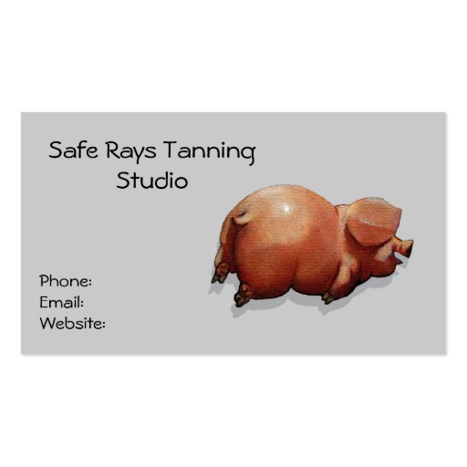 Happy Piggy: Tanning Bed Business: Sun, Skin Double-Sided Standard Business Cards (Pack Of 100)