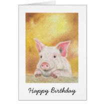 Happy Piglet Birthday Card